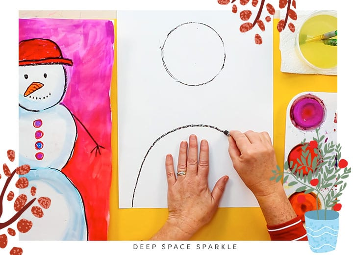 how to teach proportion snowman project for kids winter art lesson drawing body