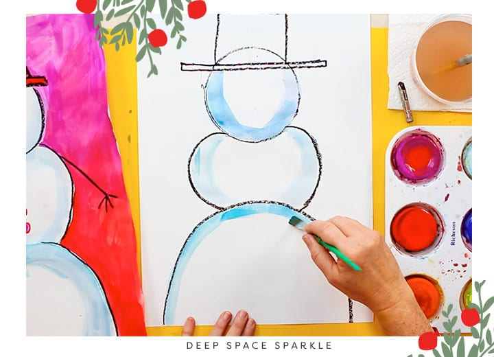 how to teach proportion snowman project for kids winter art lesson cake tempera paints