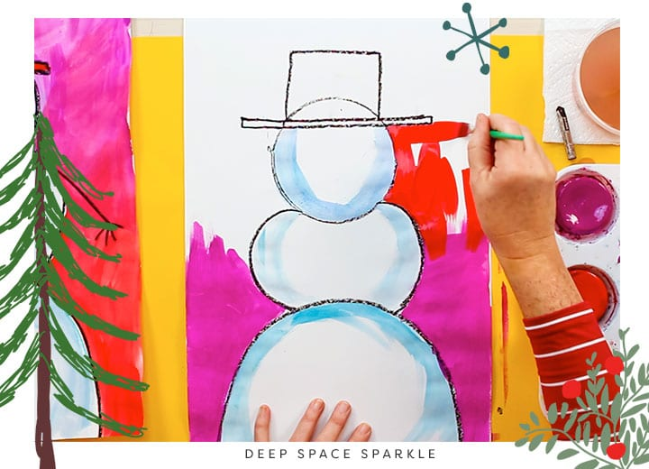 how to teach proportion snowman project for kids art winter lesson background