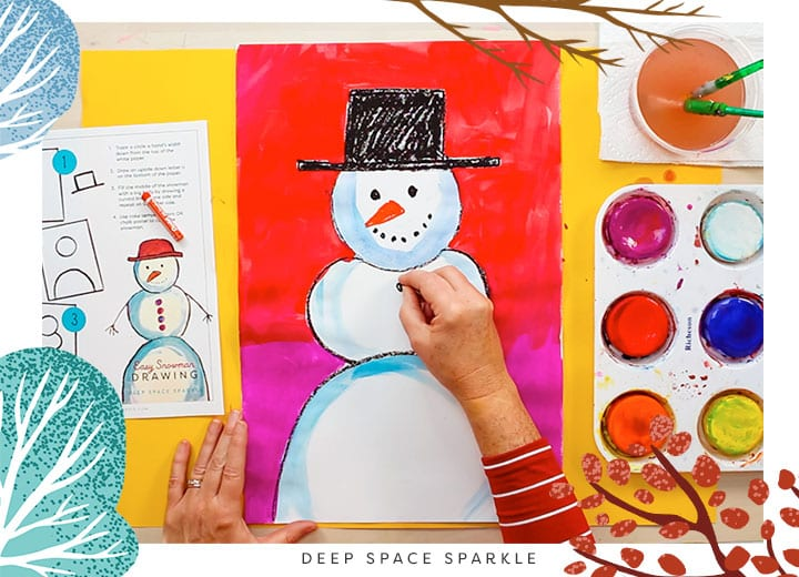 how to teach proportion snowman project for kids art winter lesson last step finish