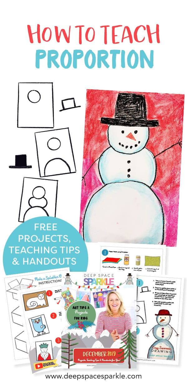 how to teach proportion snowman winter art project for kids