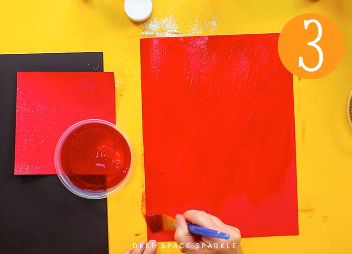 how to make your own glitter paper red paint