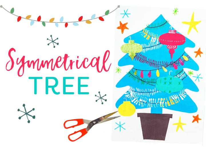 Symmetrical Christmas tree art project for kids