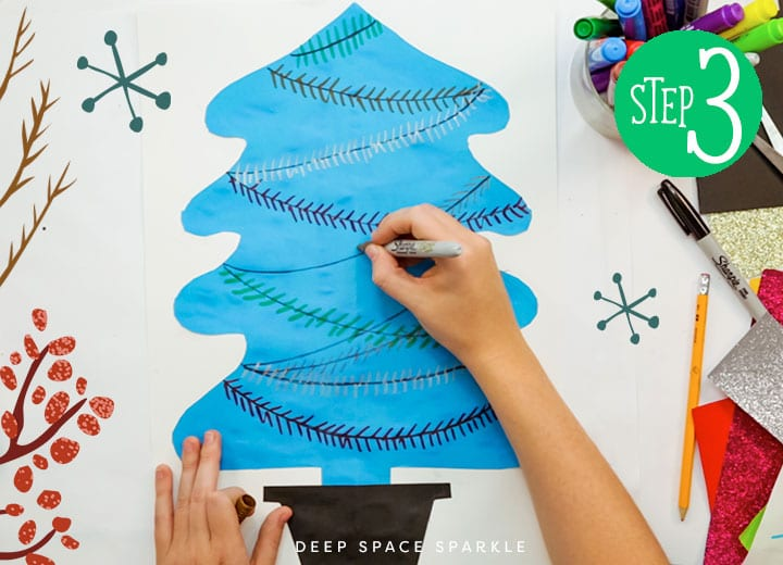 make a symmetrical christmas tree add garland with marker