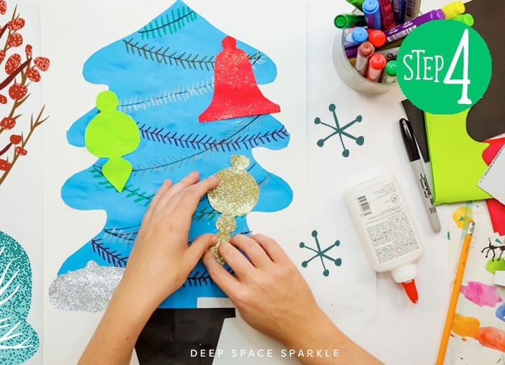 make a christmas symmetrical tree add and cut ornaments glue together