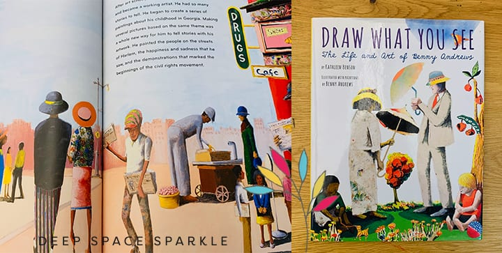 Draw What you See, The life and art of Benny Andrews- Black history month for kids.
