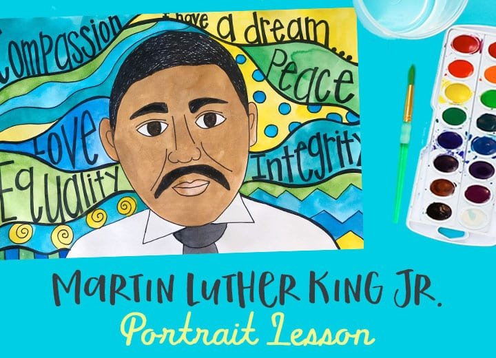 Martin Luther King Jr. portrait art lesson for kids using watercolor paints