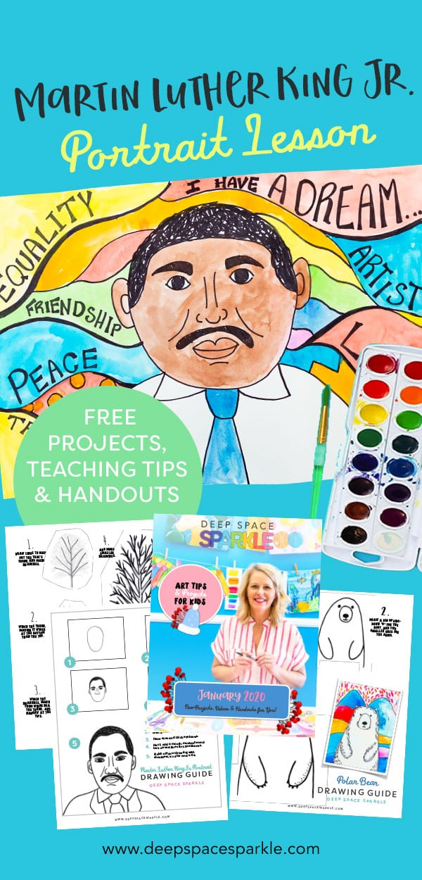 Martin Luther King Jr. portrait art lesson project for kids download