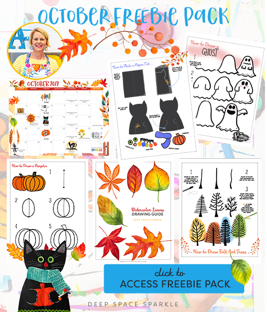 October Freebie Pack lesson and drawing guides for art class