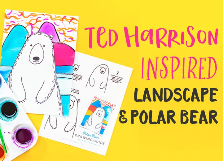 ted harrison inspired landscape and polar bear art project for kids