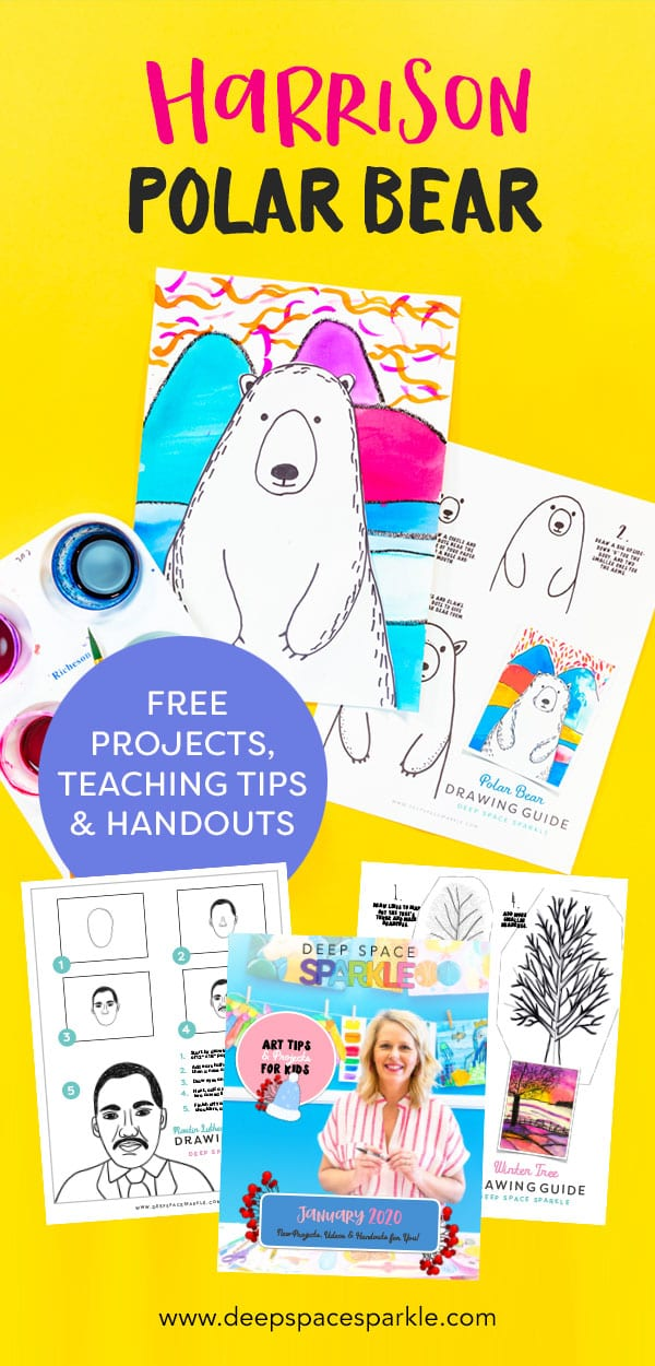 ted harrison inspired polar bear art project for kids using pan watercolors download handout