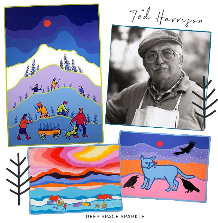 ted harrison inspired landscape and polar bear art project for kids artist feature