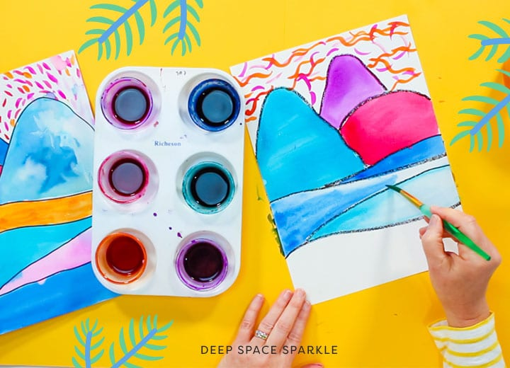 ted harrison inspired polar bear art project for kids using pan watercolors to create a landscape