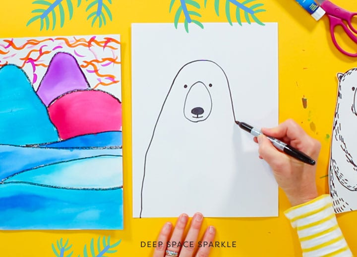 ted harrison inspired polar bear art project for kids using pan watercolors