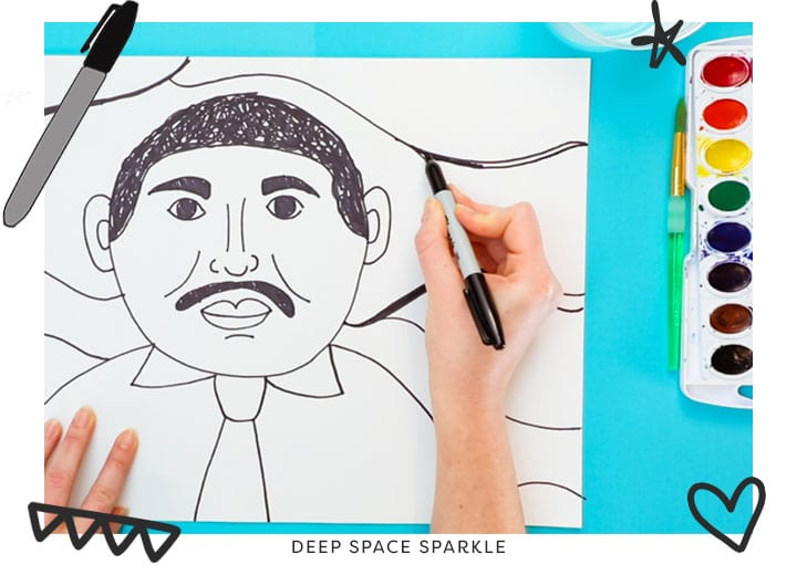 Martin Luther King Jr. portrait art lesson project for kids