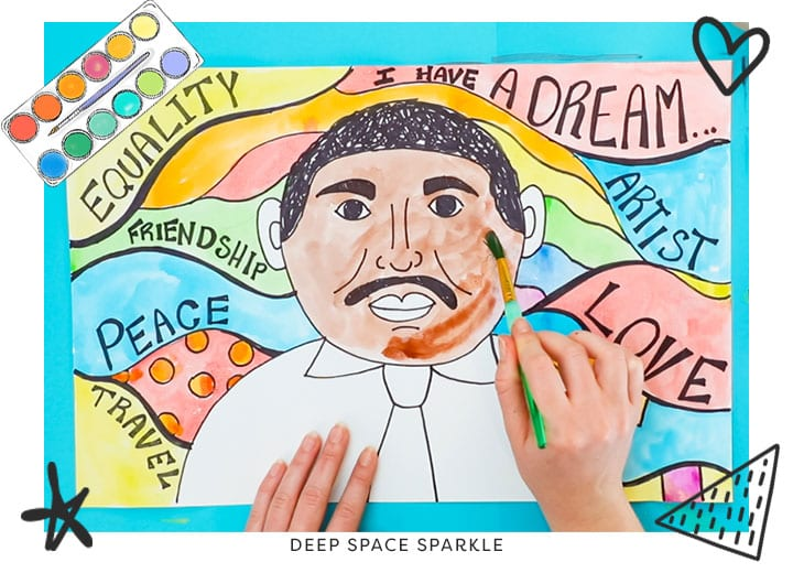 Martin Luther King Jr. portrait art lesson project for kids watercolor