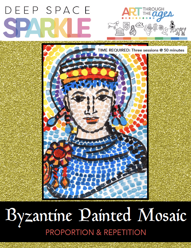 Byzantine Painted Mosaic art lesson for 7th grade students with standards product