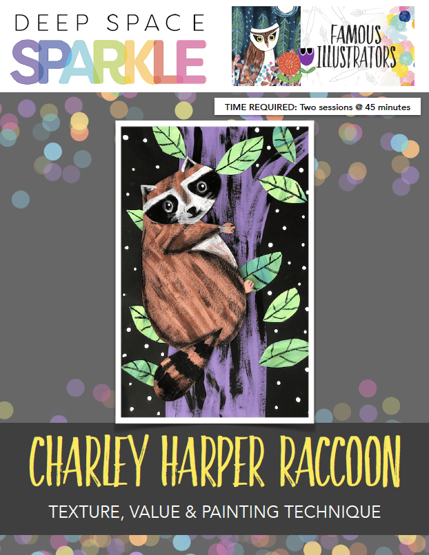 Charlie Harper Raccoon art lesson plans with standards for 3rd grade product