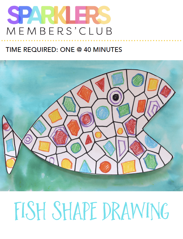 Fish Shape drawing art lesson with standards product