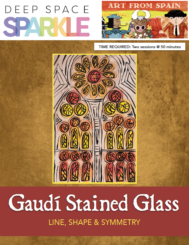 Guidí Stained Glass art lesson for 7th grade students with standards product