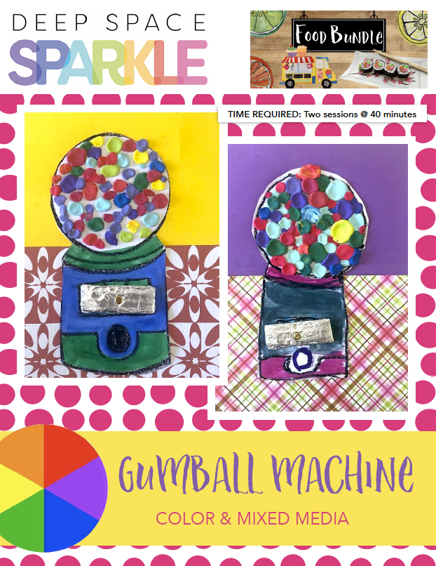 Gumball Machine art lesson product with standards for 1st grade