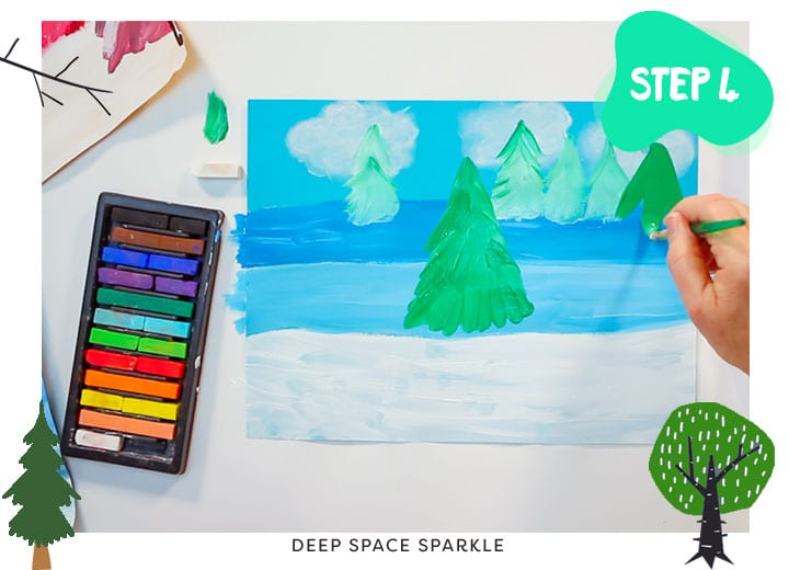 here near and far winter landscape art project for kids