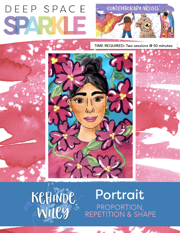 Kehinde Wiley Portrait art lesson plan for 6th grade students with standards