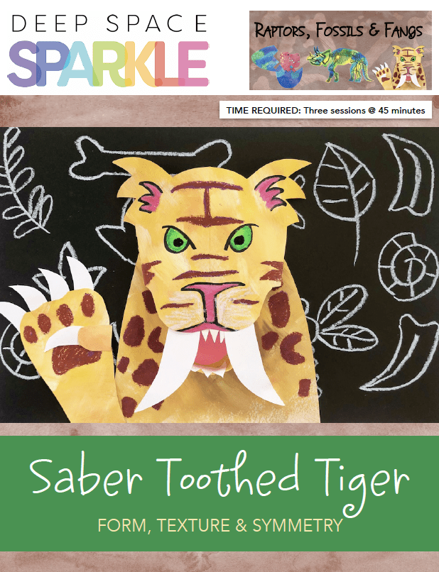Saber Toothed Tiger art lesson plan for 3rd grade with standards