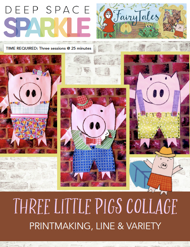 Three Little Pigs printmaking collage product