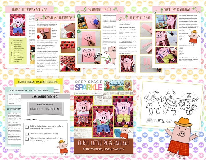 Three little pigs art lesson plan for kinders with standards