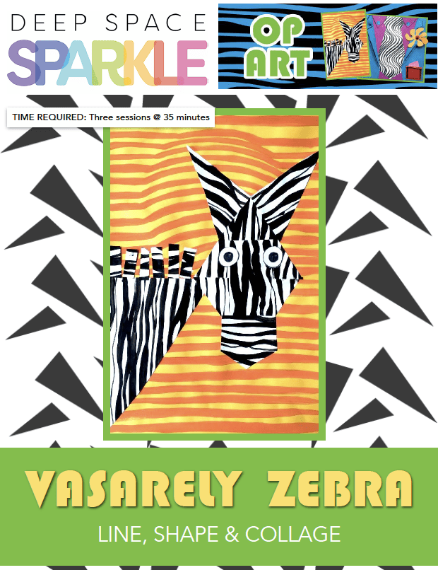Vasarely Zebra art lesson plan with standards for 1st grade students