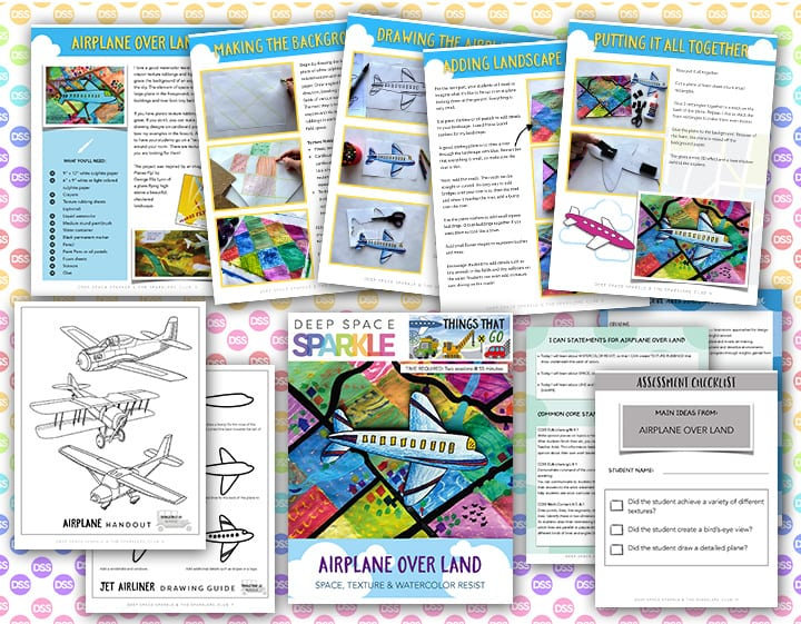 airplane over land art lesson plan for 4th grade with standards