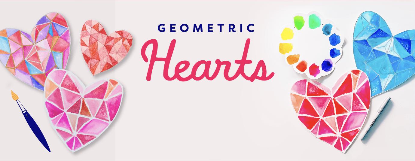 February freebie art project geometric hearts