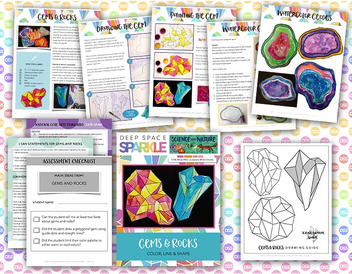 gems rocks art lesson plan with standards for sixth grade