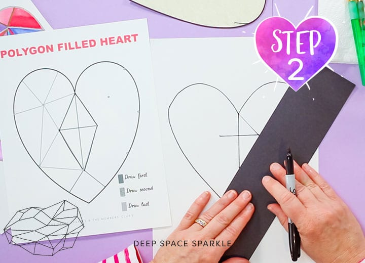 Geometric Hearts watercolor art lesson for kids including video how-to tutorial