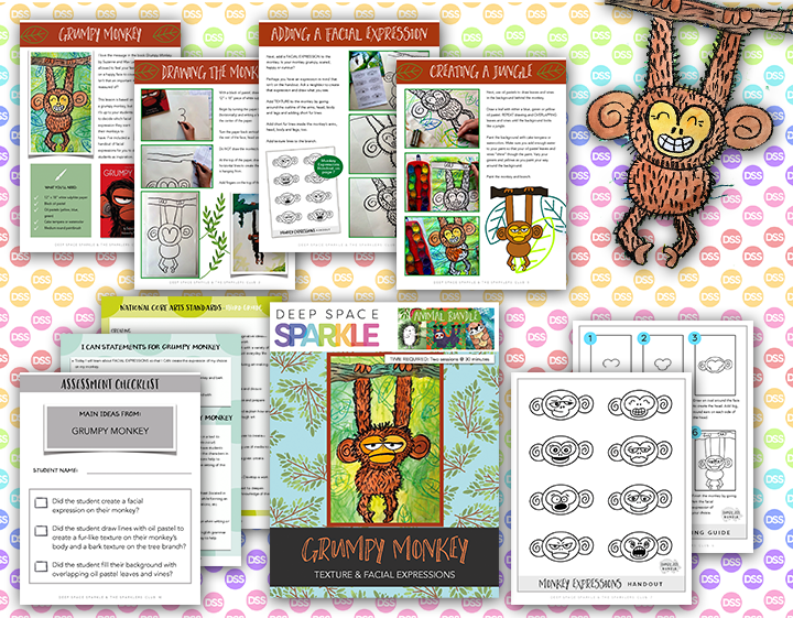 grumpy monkey art lesson plan product with standards for 3rd grade
