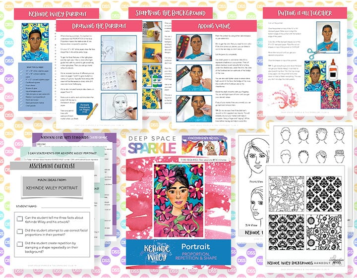 kehinde wiley portrait art lesson plan for sixth grade with standards