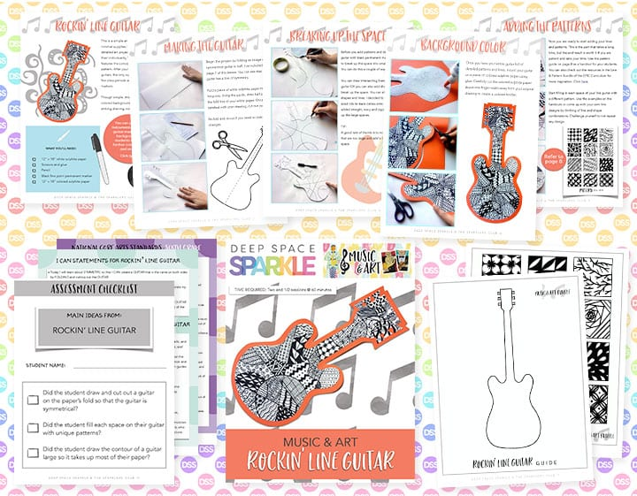 rockin line guitar art lesson plan with standards for sixth grade