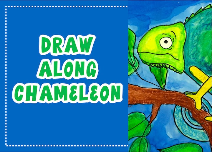 draw along chameleon watercolor art project for all age groups