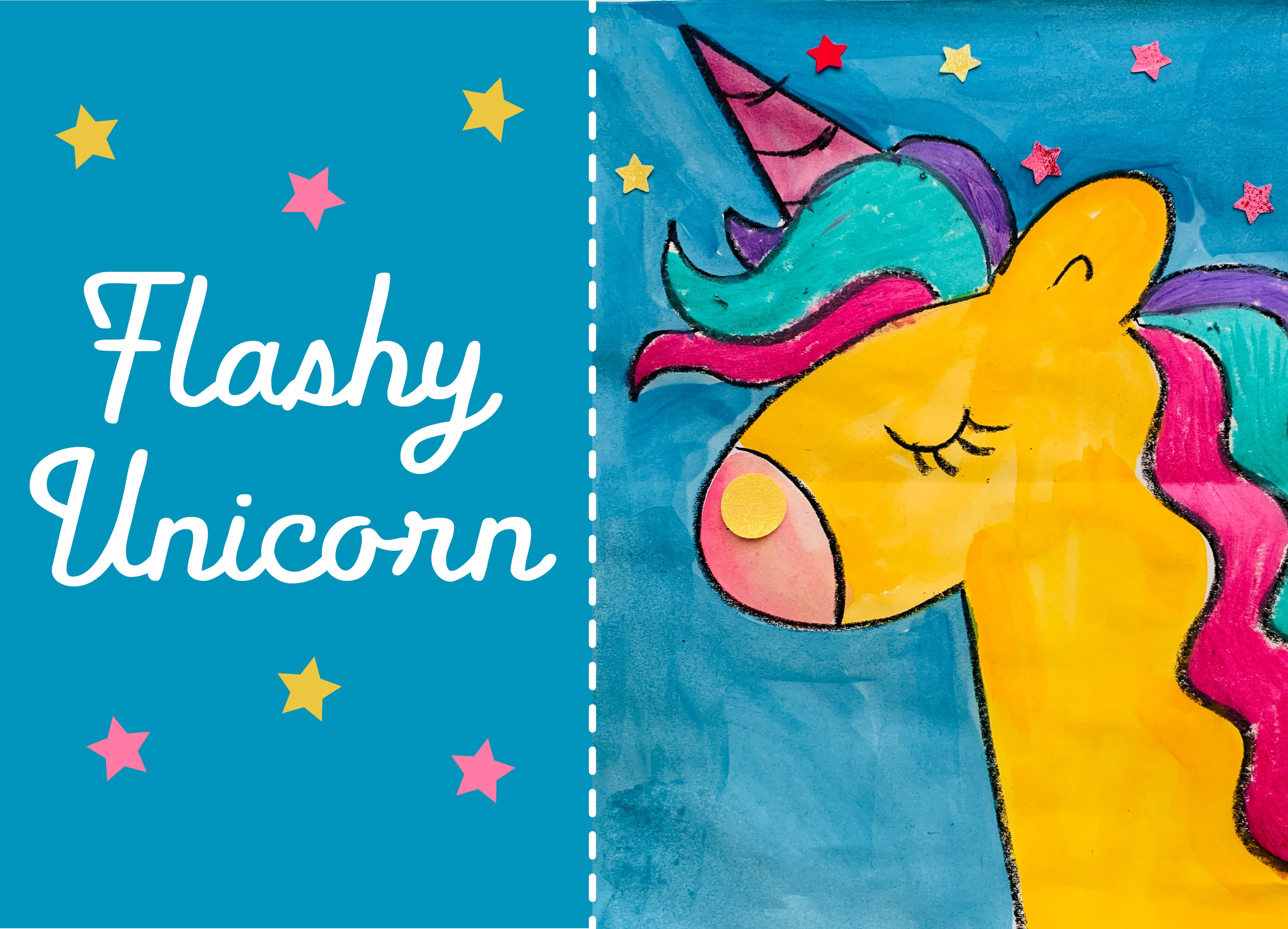 Flashy Unicorn art project for all age groups and students at home
