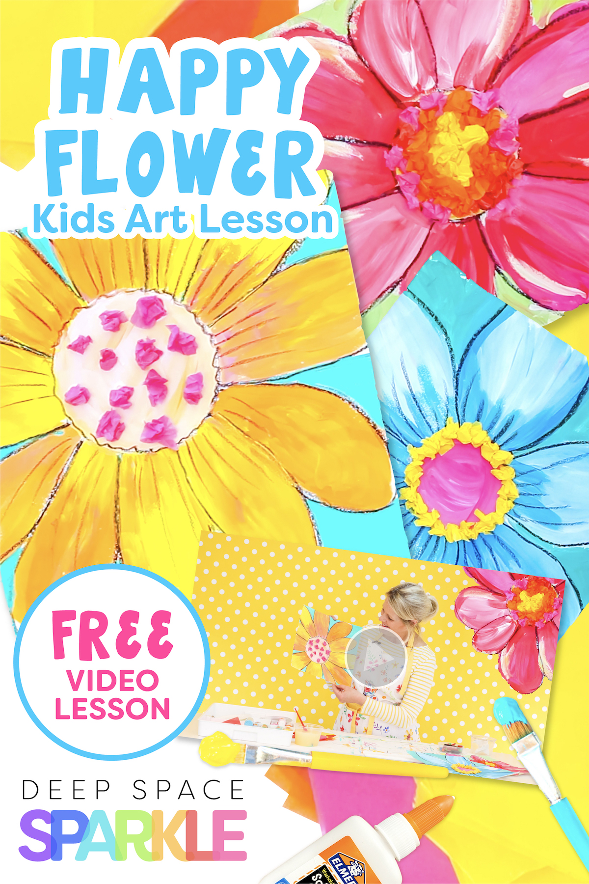 happy flowers art lessons for kids art projects at home with instructional free video