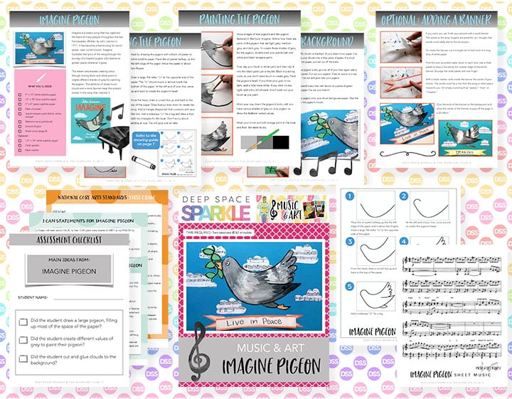 Imagine Pigeon art lesson plan with standards for first grade students