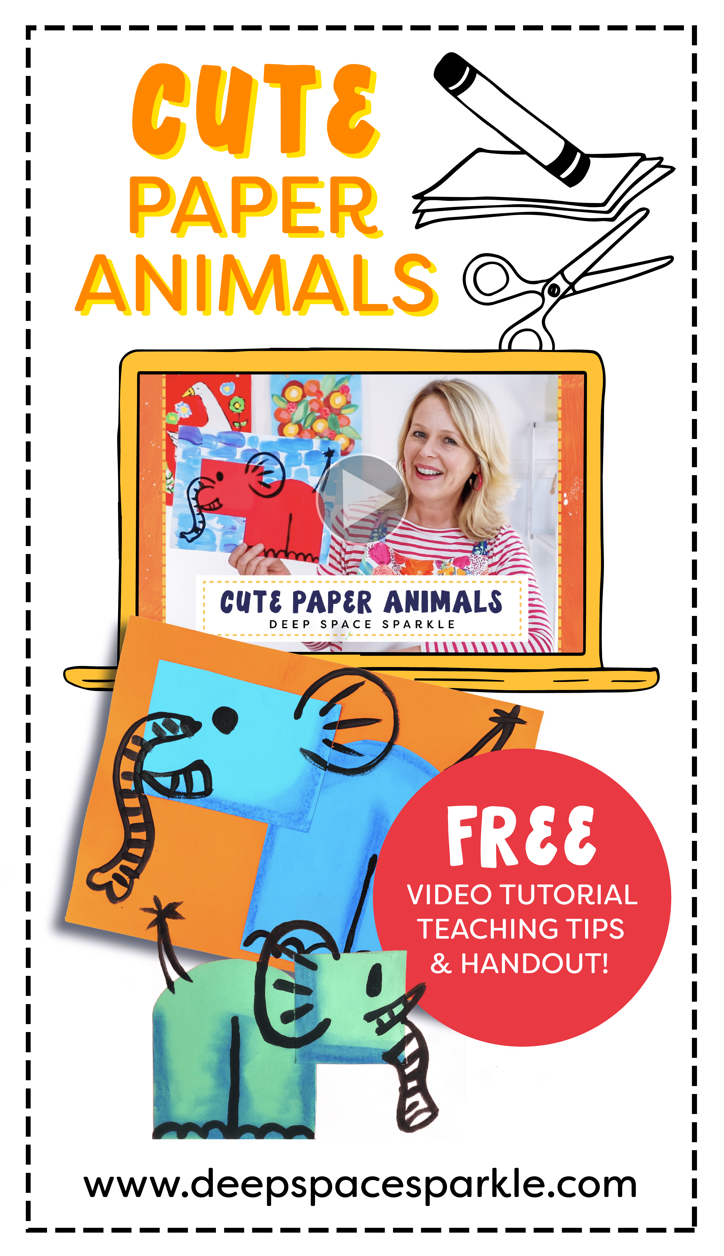 how to make cute paper animals for earth day project for kids with instructional video