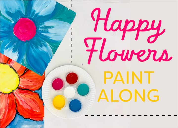 happy and colorful radial flowers draw along with video
