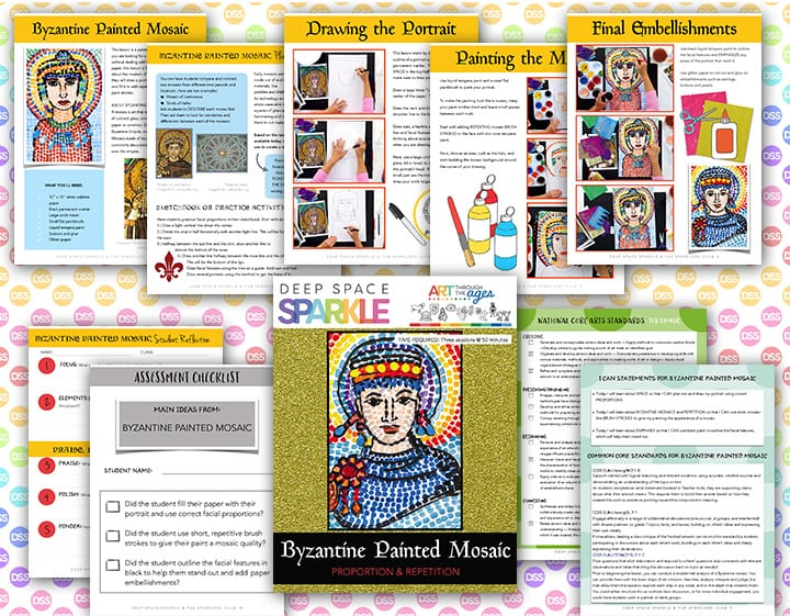 byzantine painted mosaic art lesson plan with standards for seventh grade