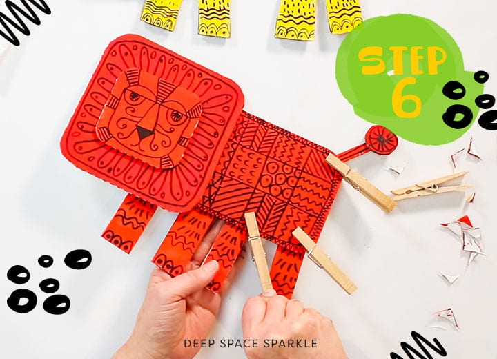 cardboard recycled lion lesson project for kids with video