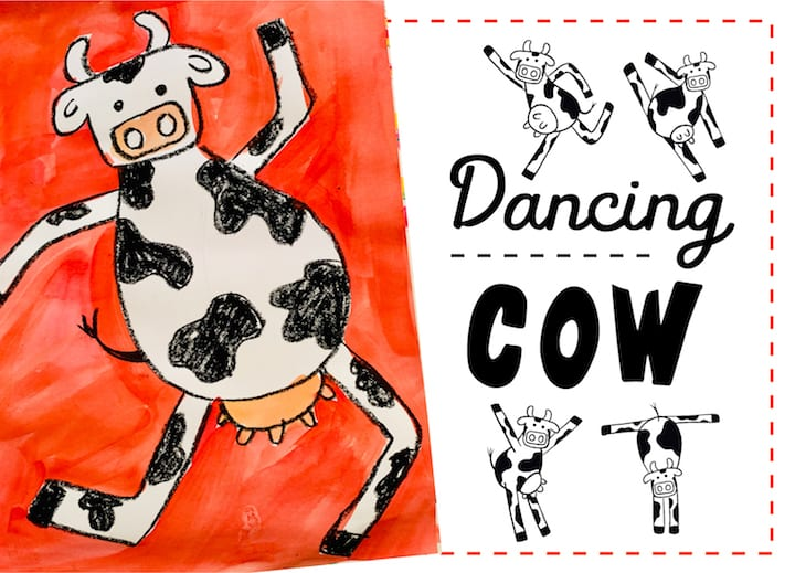 dancing cow art project for all ages draw along lesson