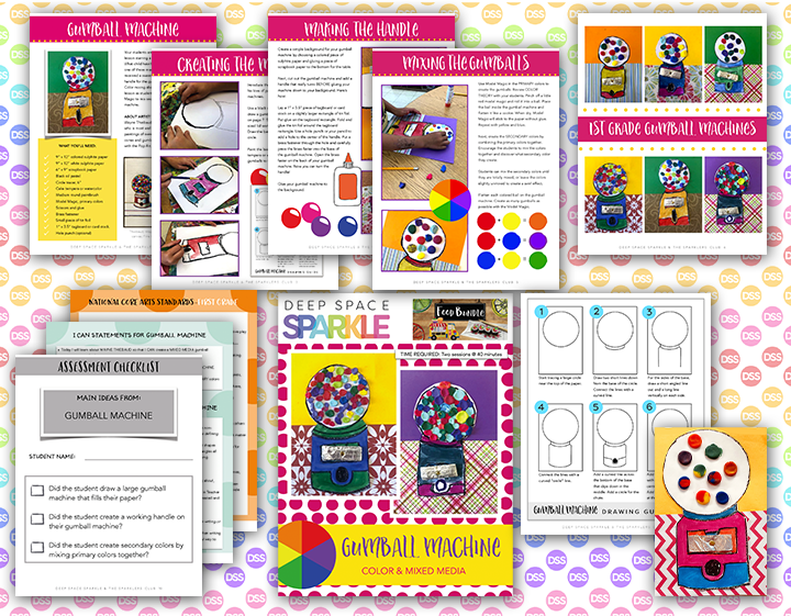 gumball machine art lesson plan with standards for first grade students