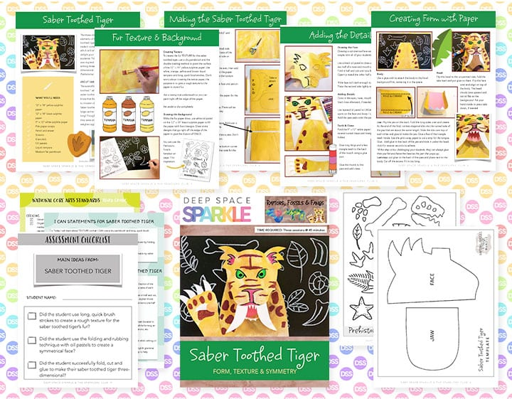 saber tooth tiger art lesson plan with standards for 3rd grade