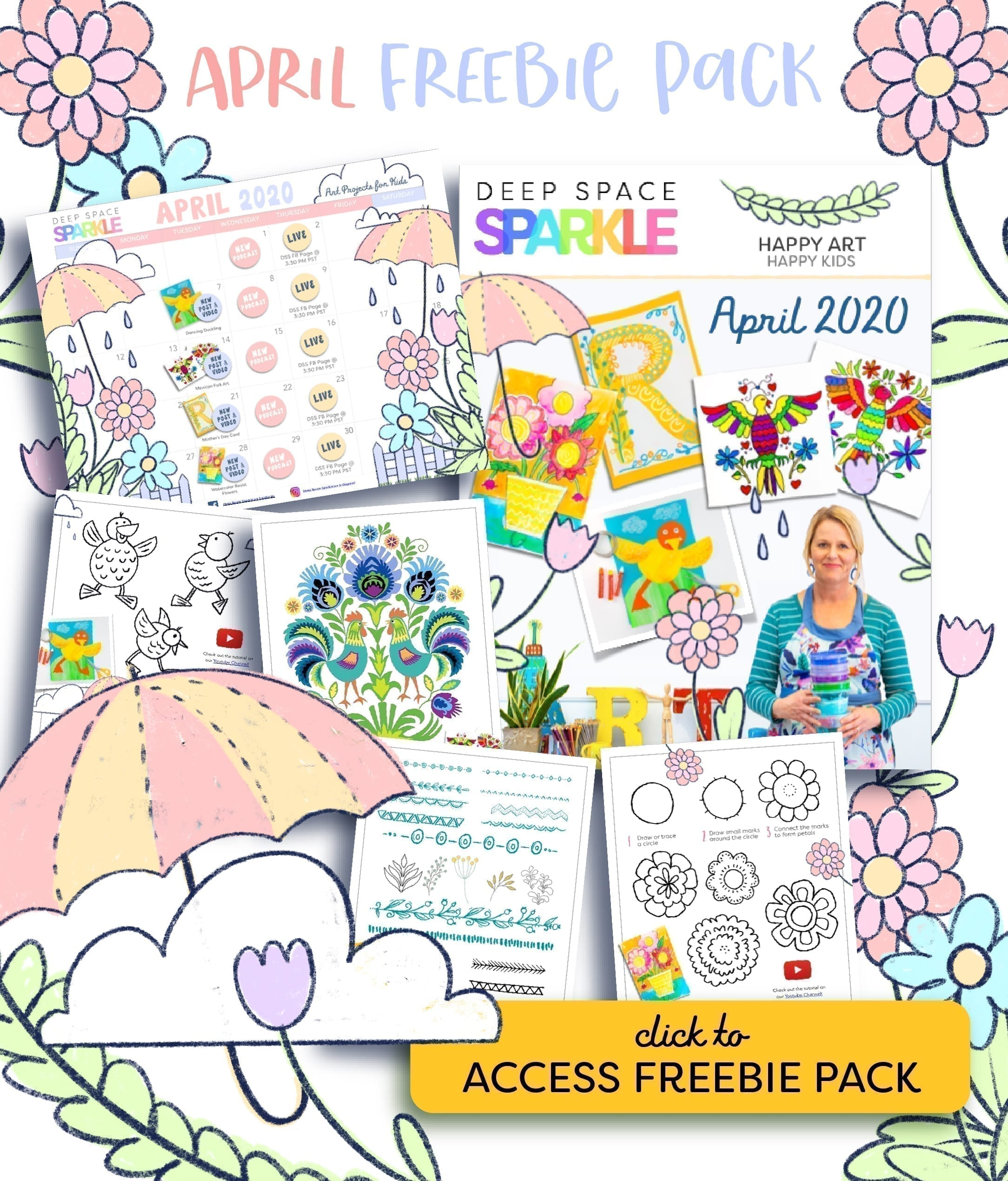 april freebie pack free art lesson for children kids students